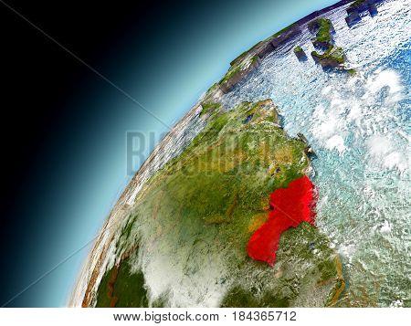 Guyana From Orbit Of Model Earth