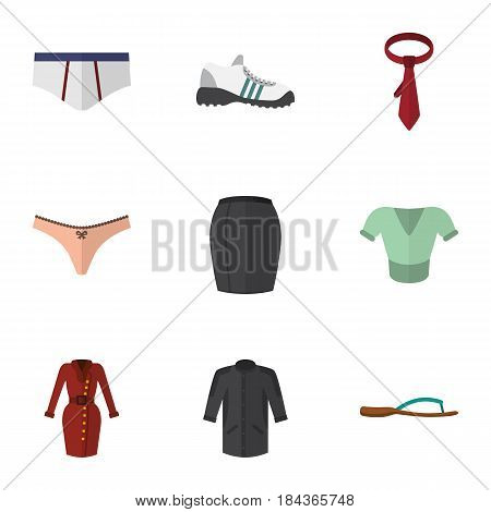 Flat Dress Set Of Cravat, Stylish Apparel, Sneakers And Other Vector Objects. Also Includes Kimono, Woman, Tie Elements.