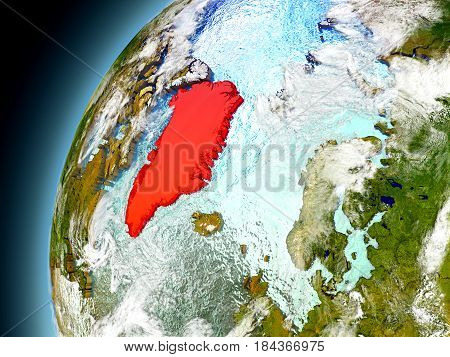 Greenland From Orbit Of Model Earth