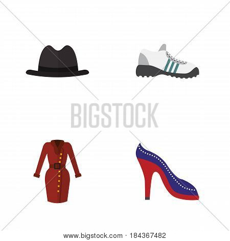 Flat Garment Set Of Panama, Heeled Shoe, Clothes And Other Vector Objects. Also Includes Dress, Garment, Gumshoes Elements.