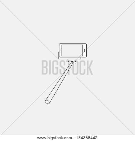 Selfie stick with digital camera or smart phone, vector