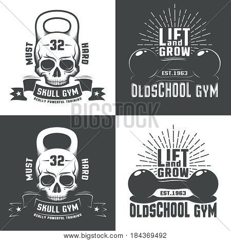 Logo for athletic fitness club or a retro-style gym. Skull in the form of a weight. Vintage dumbbell with inscriptions and sunburst.