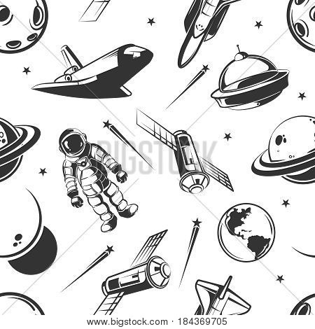Astronaut space traveling vector seamless pattern in vintage style. Astronaut and space ship seamless pattern, illustration of astronomy planet and cosmonaut with rocket spaceship