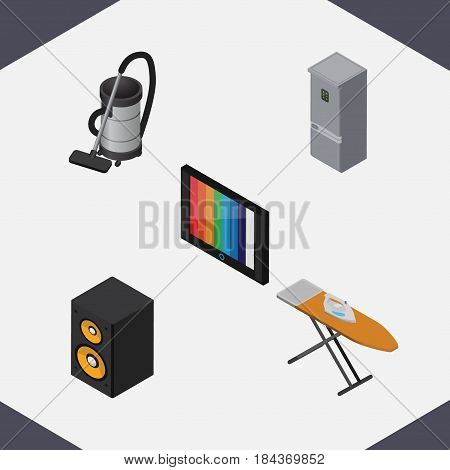 Isometric Appliance Set Of Music Box, Television, Kitchen Fridge And Other Vector Objects. Also Includes Music, Kitchen, Cleaner Elements.
