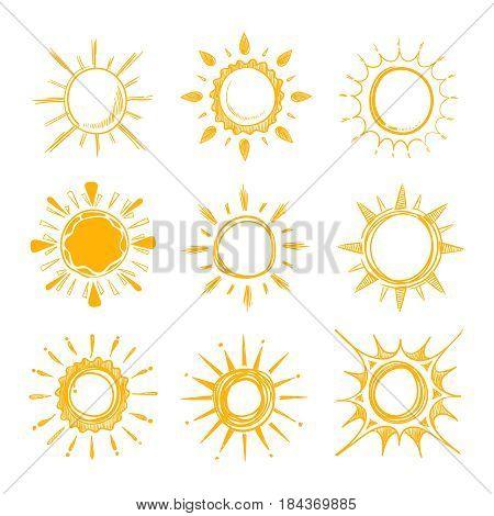 Shining bright hand drawn happy sun vector set. Creative sunny bright, illustration of morning simple sunny energy