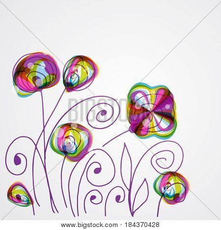 Abstract floral background for your design. Bright decor with abstract flowers and leaves. Wedding card, wallpapers, styker design, wall decal or wrapping paper version