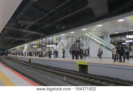 OSAKA JAPAN - DECEMBER 16, 2016:  Unidentified people travel at Shin Osaka JR train station.