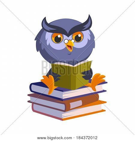 Nice owl, he is reading a book, vector illustration