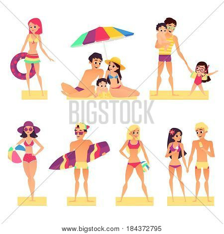 People on vacation. Flat style vector illustration. Happy and young girls and boys sunbathing. People summer vacation, holiday and summer travel