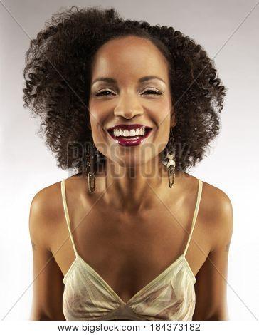 Glamorous African American woman smiling