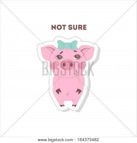 Not sure pig sticker. Isolated cartoon sticker on white background.