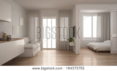 Small apartment with kitchen living room and bedroom white minimalist interior design, 3d illustration