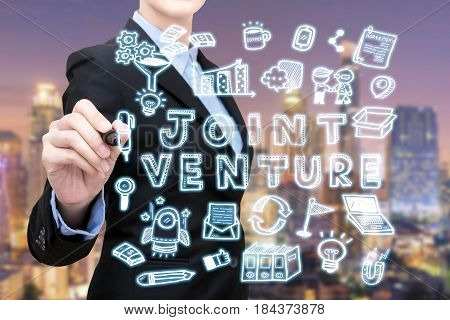 Asian Business Woman Is Writing Joint Venture Idea Concept. Eelegant Design For Smart Business,busin