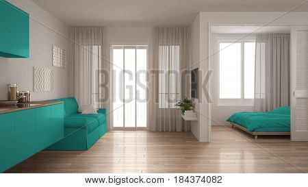 Small apartment with kitchen living room and bedroom white and turquoise minimalist interior design, 3d illustration