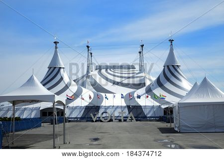 MONTREAL, CANADA - April 23, 2017: Tent of the new show of Cirque du Soleil, Canadian entertainment company. It is the largest theatrical producer in the world. Based in Montreal, Quebec, Canada