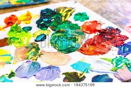 Oil Paints On The Artist's Palette For Painting