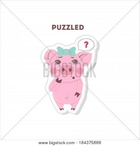 Puzzled pig sticker. Isolated cartoon sticker. Funny pig with question marks.