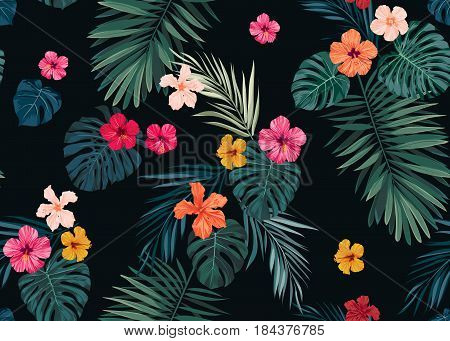 Seamless hand drawn tropical pattern with bright hibiscus flowers and exotic palm leaves on dark background. Vector illustration.