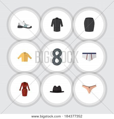 Flat Clothes Set Of Stylish Apparel, Underclothes, Uniform And Other Vector Objects. Also Includes Briefs, Kimono, Fedora Elements.