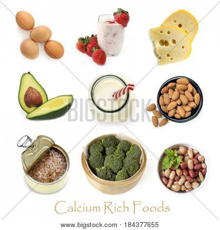 Collection of calcium rich foods isolated on white.