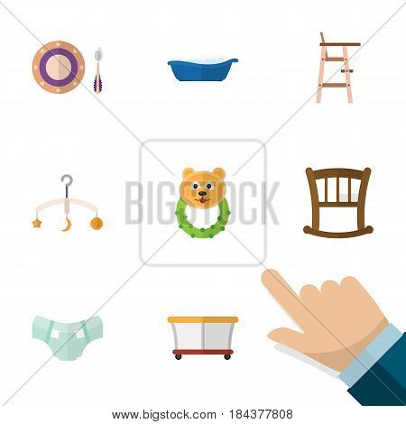 Flat Kid Set Of Baby Plate, Rattle, Mobile And Other Vector Objects. Also Includes Plate, Bear, Crib Elements.