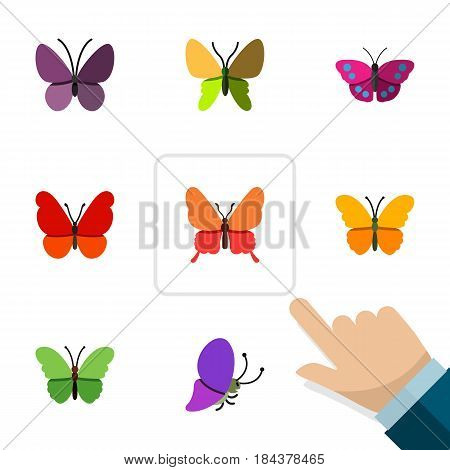 Flat Butterfly Set Of Butterfly, Beauty Fly, Monarch And Other Vector Objects. Also Includes Archippus, Monarch, Moth Elements.