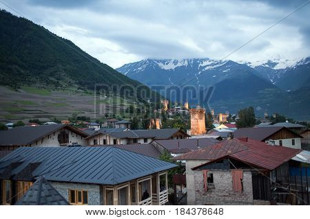 Mestia village in Svaneti area Caucasus mountains in Georgia