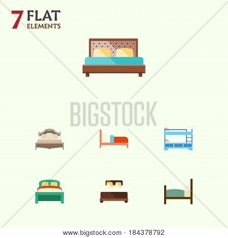 Flat Bed Set Of Furniture, Hostel, Mattress And Other Vector Objects. Also Includes Bunk, Bearings, Mattress Elements.
