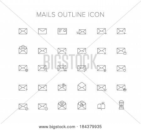 Mails Line Icon Set. Outline Icon set