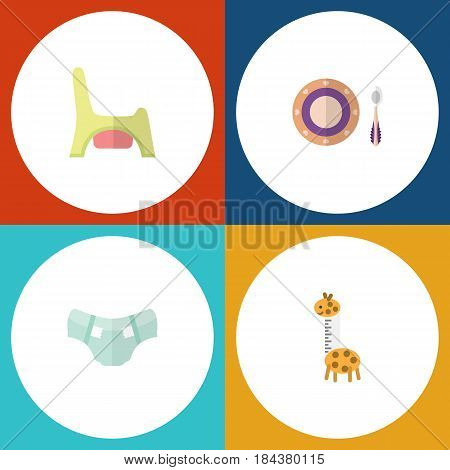 Flat Baby Set Of Toy, Nappy, Baby Plate And Other Vector Objects. Also Includes Pampers, Plate, Toilet Elements.