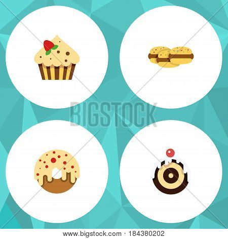 Flat Cake Set Of Confectionery, Biscuit, Doughnut And Other Vector Objects. Also Includes Donuts, Pastry, Shortcake Elements.