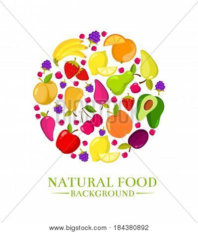 Fresh organic cartoon fruits vector icons, design for eco food menu. Color fruit natural healthy, illustration of cartoon organic fruits