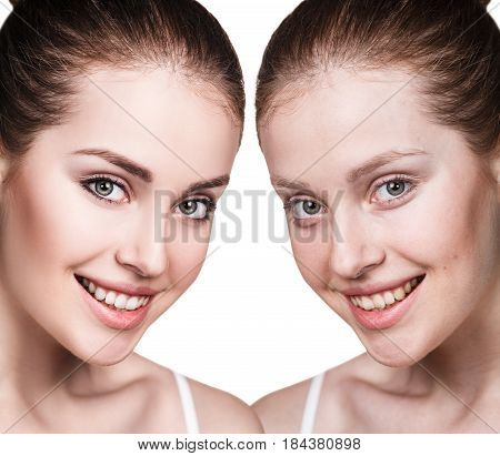 Comparison portrait of young woman before and after retouch poster