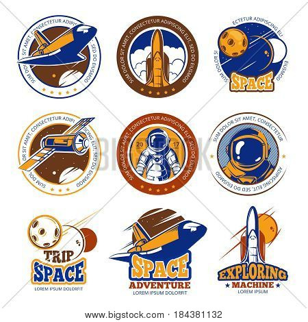 Astronaut flight, aviation, space shuttle and rockets vintage vector labels, badges, emblems. Travel in galaxy, illustration travel in cosmos