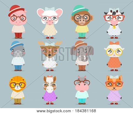 Geek hipster cute animal girl boy cubs mascot cartoon icons set flat design vector illustration