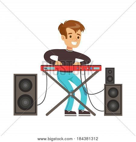Young boy playing electric piano. Cute talented young boy play on musical instrument, music lesson. Colorful character vector Illustration isolated on a white background