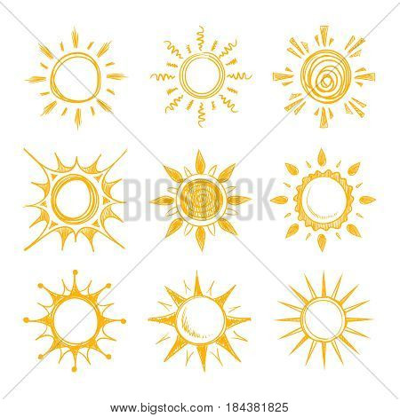 Funny doodle summer smile orange sun vector icons. Yellow hot sun, illustration of bright summer morning sun