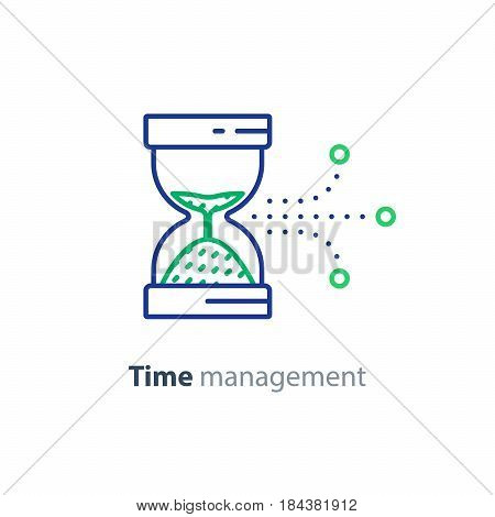 Time management concept, sand hour glass, vector line icon