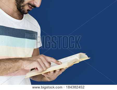 Middle Eastern Man Reading Book Education Knowledge