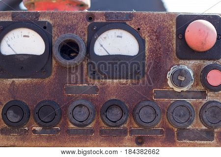 old retro mechanism control panel for the background