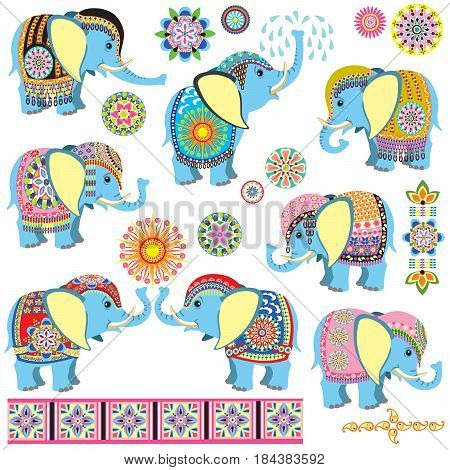 set with cartoon Indian elephants decorated with floral ornaments . Collection for babies and little kids. Side view isolated vector illustration