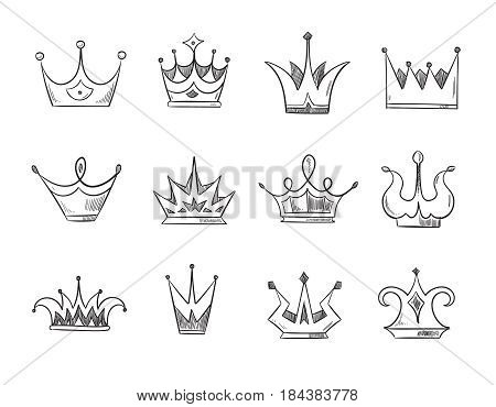 Hand drawn doodle nobility queens crowns vector. Set of line crowns, illustration of crown for prince or monarch