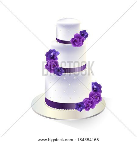 Traditional white tiered wedding cake decorated with purple flowers. Vector illustration.