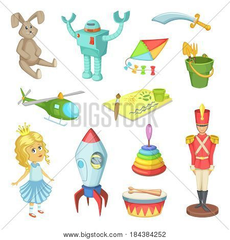 Cartoon set of toys for kids boys and girls. Funny vector icons toys robot and rabbit, doll and soldier. Illustration of child toys