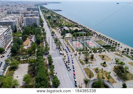 Aerial View Of The New Park And The Waterfront Of The City Of Thessaloniki