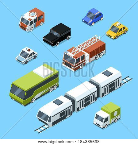 Vector isometric transport, 3d car icons set isolate on white background. Urban traffic pictures. Transport car isometric icon, illustration of auto transport
