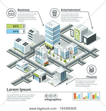 Isometric 3d city map. Infographic vector illustration. Dimensional plan with house building architecture, map structure city with model buildings info