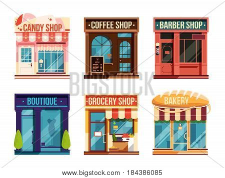 Urban stores set isolate on white background. Business retail. Vector illustration. Flat facade barber and candy shop, illustration boutique facade architecture