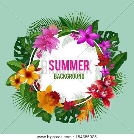 Tropical graphics. Exotic spring or summer flowers background vector illustration. Flower blossom wreath, round frame bloom wreath