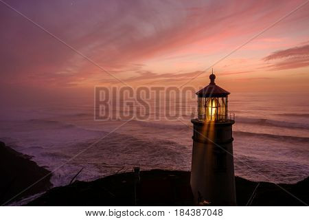 Heceta Head Lighthouse at sunset, Pacific coast, built in 1892, Oregon, USA
